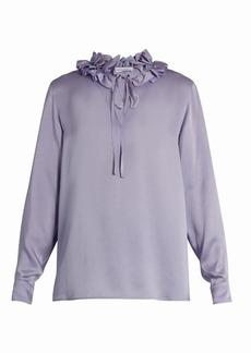 Sonia Rykiel Ruffled-neck long-sleeved crepe satin blouse