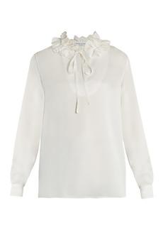 Sonia Rykiel Ruffled-neck long-sleeved crepe-satin blouse
