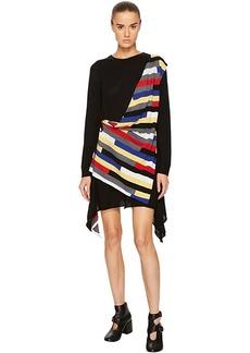 Sonia Rykiel Runway Broken Stripe Intarsia Drape Front Long Sleeve Dress