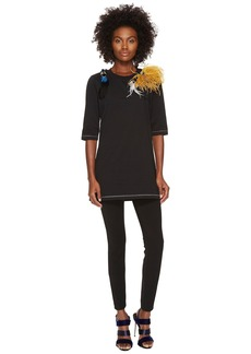 Sonia Rykiel Runway Embroidered Cotton Jersey w/ Feathers Tee