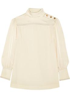 Sonia Rykiel Satin-trimmed crepe de chine blouse