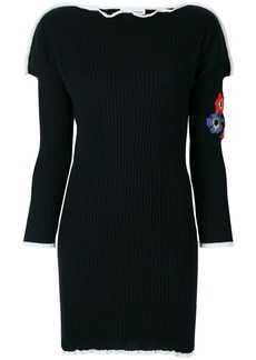 Sonia Rykiel ribbed floral embroidered knitted dress - Black