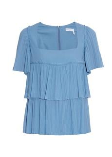 Sonia Rykiel Square-neck pleated-cotton top