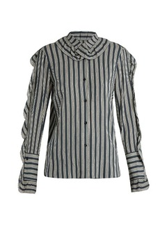 Sonia Rykiel Striped ruffle-trimmed crepe blouse
