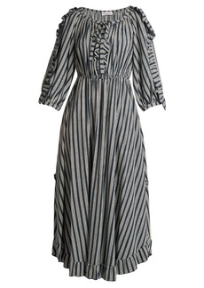 Sonia Rykiel Striped ruffle-trimmed crepe midi dress