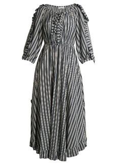 Sonia Rykiel Striped ruffle-trimmed crepe midi dress