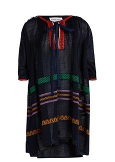 Sonia Rykiel Tie-neck embroidered linen-blend dress