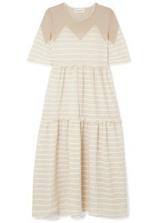 Sonia Rykiel Tiered Striped Metallic Stretch-knit Midi Dress