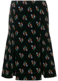 Sonia Rykiel velvet floral print skirt - Black