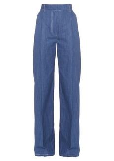 Sonia Rykiel Wide-leg cotton-chambray trousers
