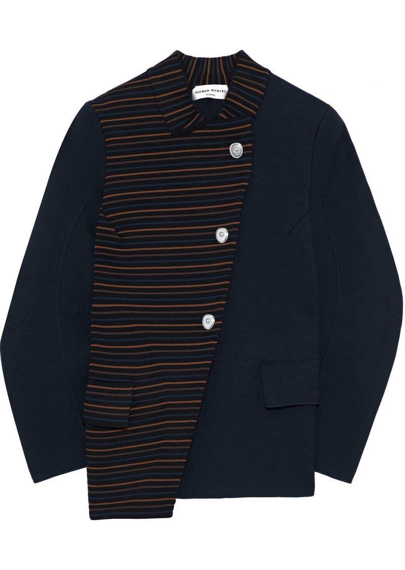 Sonia Rykiel Woman Asymmetric Paneled Striped Ponte Jacket Black