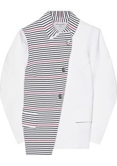 Sonia Rykiel Woman Asymmetric Paneled Striped Ponte Jacket White