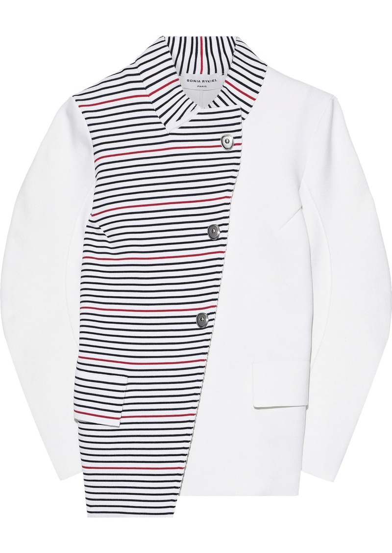 Sonia Rykiel Woman Asymmetric Paneled Striped Ponte Jacket White