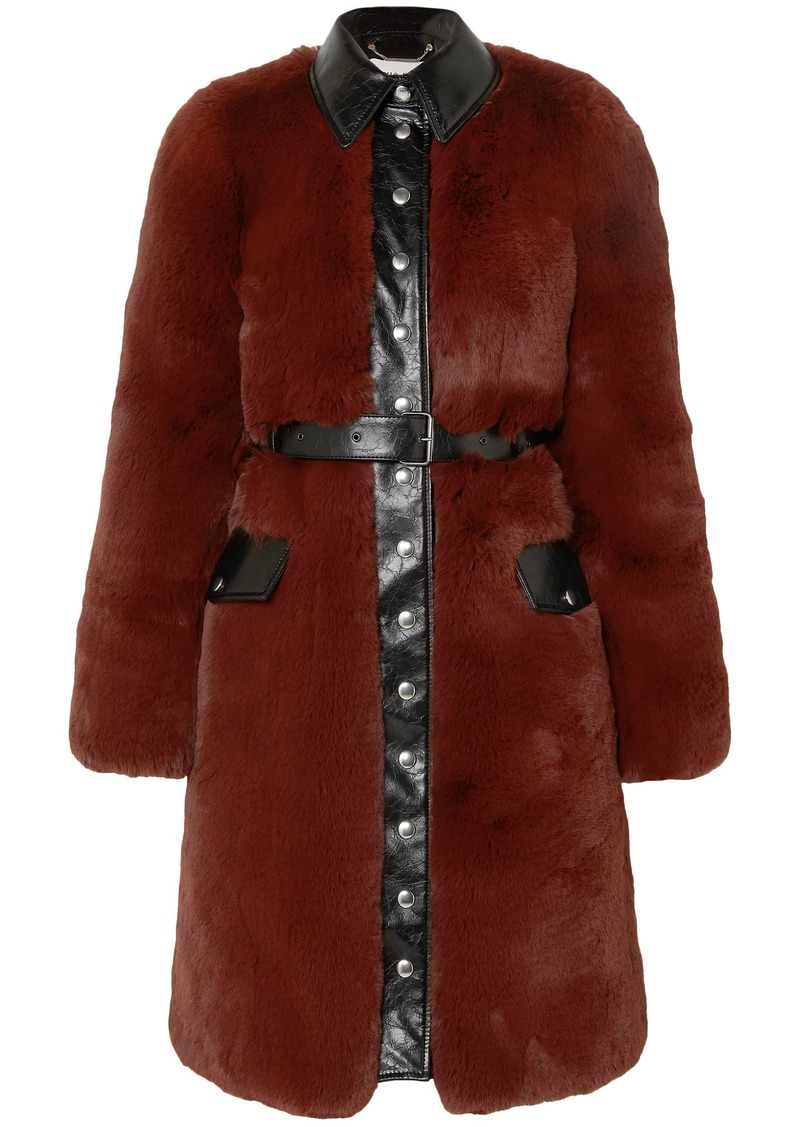 Sonia Rykiel Woman Belted Faux Leather-trimmed Faux Fur Coat Brick