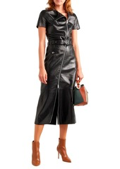 Sonia Rykiel Woman Belted Zip-detailed Leather Midi Dress Black
