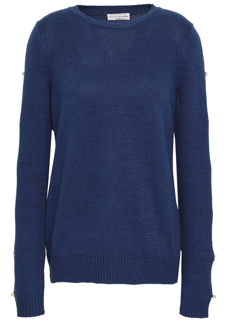 Sonia Rykiel Woman Button-detailed Silk And Cotton-blend Sweater Royal Blue