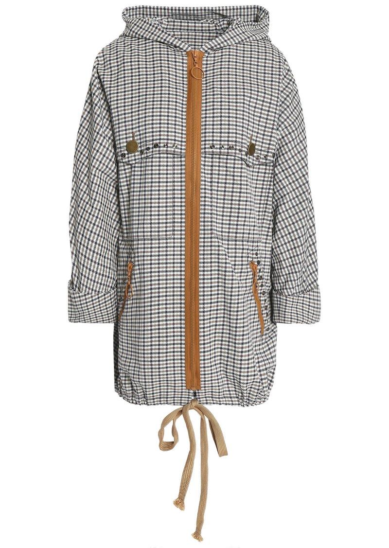 Sonia Rykiel Woman Checked Jacquard Hooded Jacket Light Gray