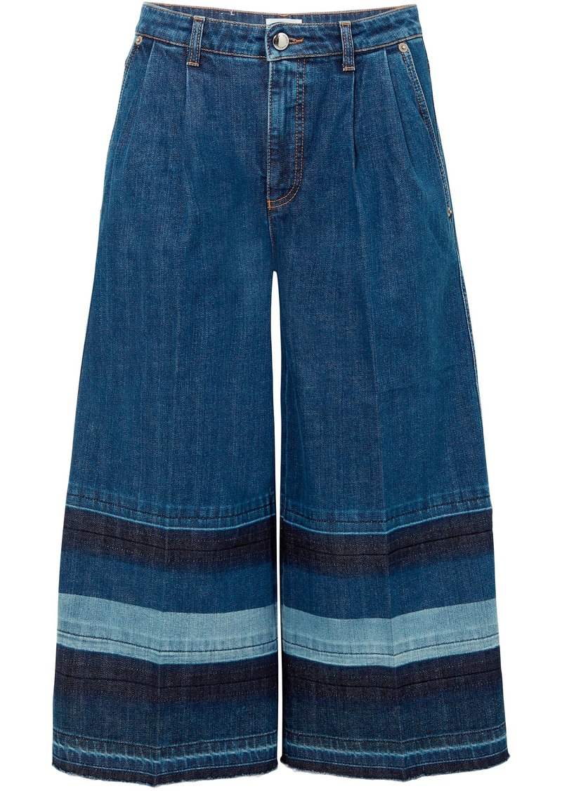 Sonia Rykiel Woman Color-block Denim Culottes Mid Denim