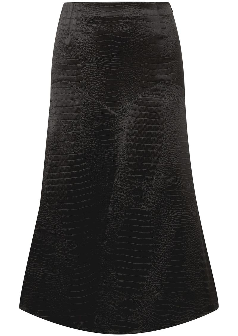 Sonia Rykiel Woman Croc-effect Satin Midi Skirt Black