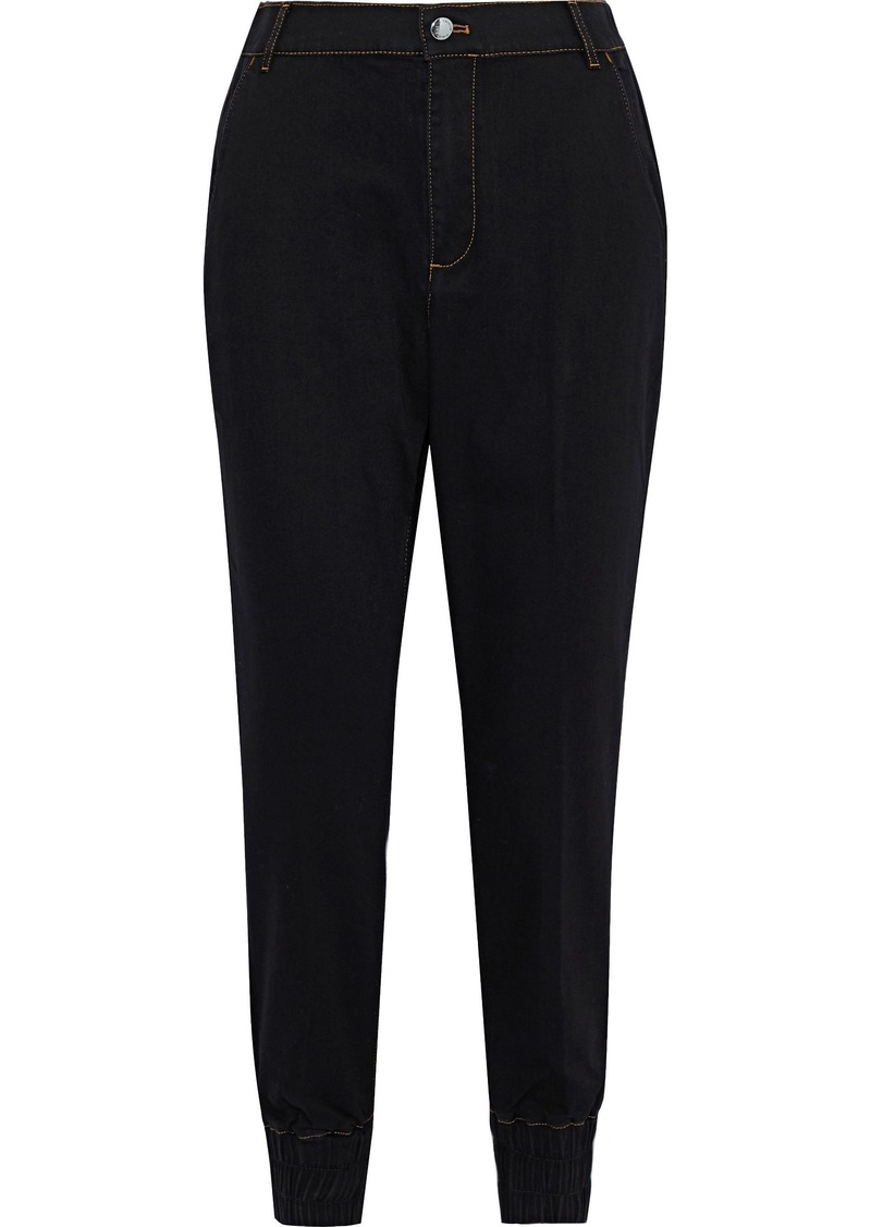 Sonia Rykiel Woman Cropped Brushed High-rise Tapered Jeans Black