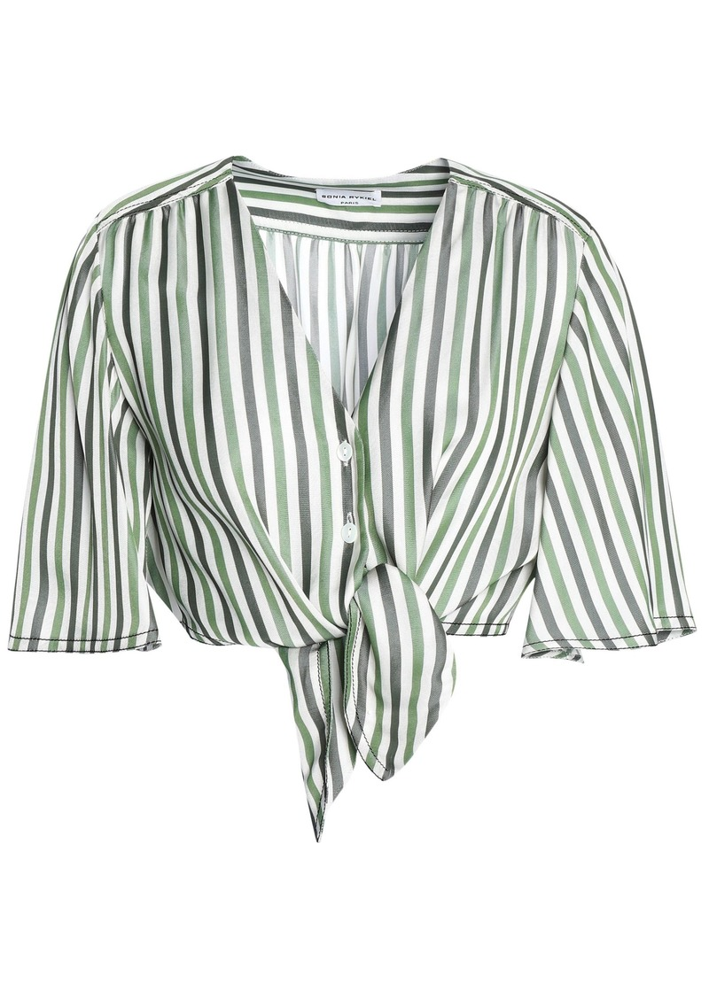 Sonia Rykiel Woman Cropped Knotted Striped Piqué Top Sage Green