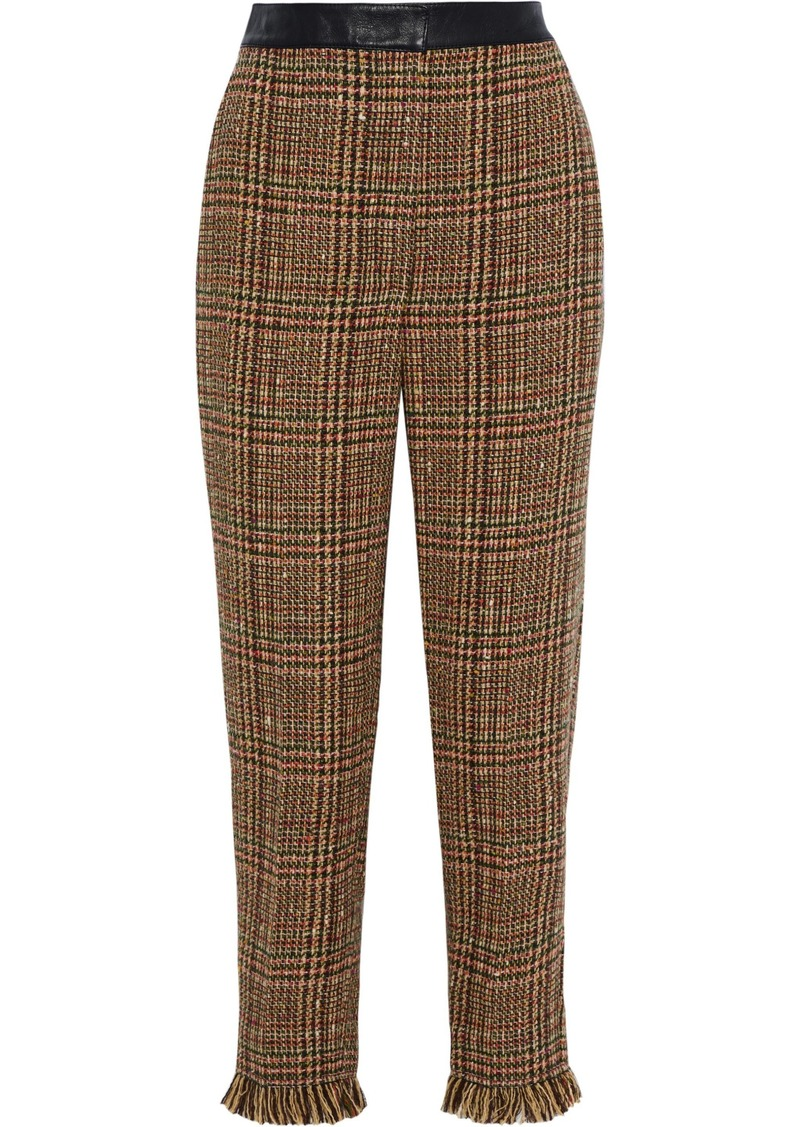 Sonia Rykiel Woman Cropped Leather-trimmed Wool-blend Tweed Straight-leg Pants Camel