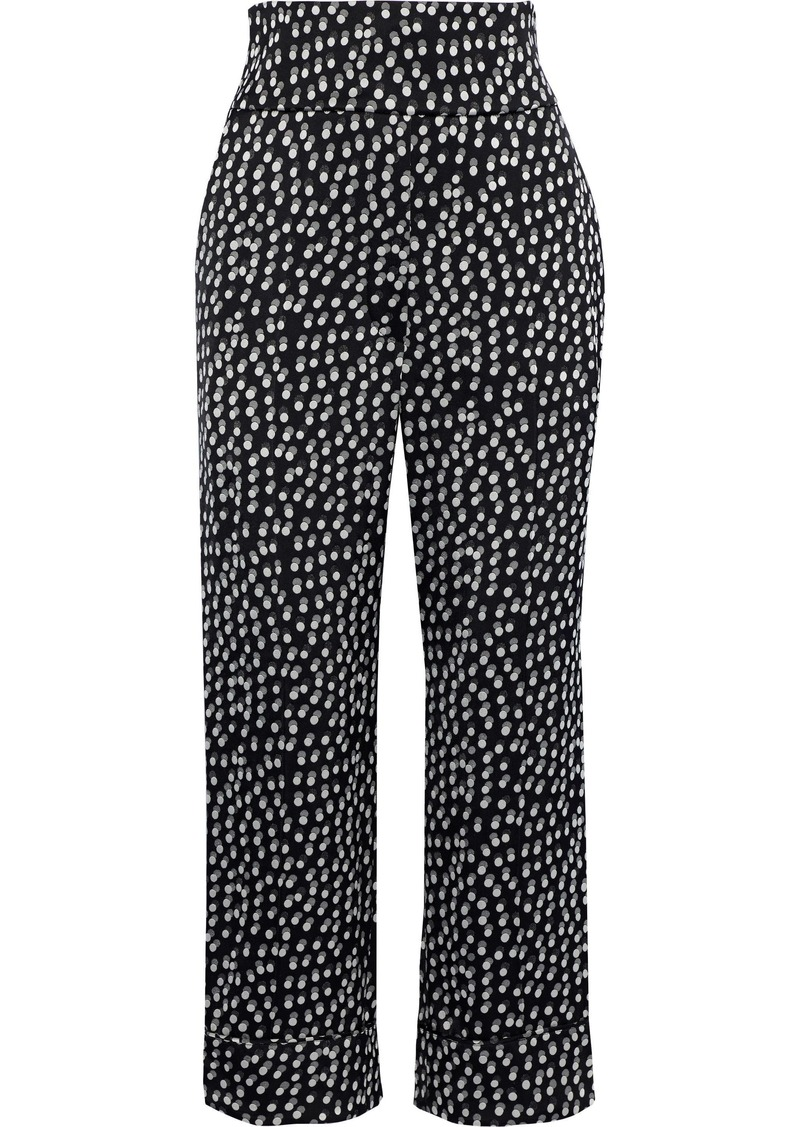 Sonia Rykiel Woman Cropped Polka-dot Jacquard Straight-leg Pants Black