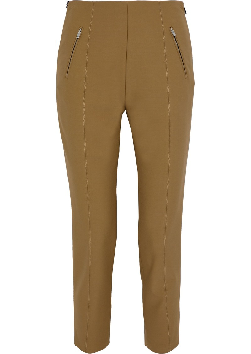 Sonia Rykiel Woman Cropped Zip-detailed Stretch-twill Slim-leg Pants Camel