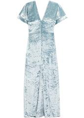 Sonia Rykiel Woman Crushed-velvet Maxi Dress Sky Blue
