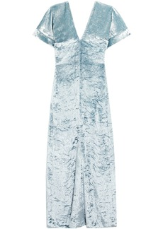 Sonia Rykiel Woman Crushed-velvet Maxi Dress Sky Blue