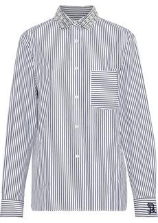 Sonia Rykiel Woman Crystal-embellished Striped Cotton-poplin Shirt White