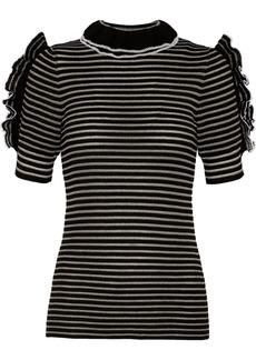 Sonia Rykiel Woman Cutout Ruffled Striped Metallic Cotton-blend Top Black