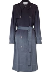 Sonia Rykiel Woman Dégradé Checked Wool Trench Coat Midnight Blue