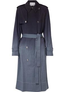 Sonia Rykiel Woman Dégradé Checked Wool Trench Coat Midnight Blue