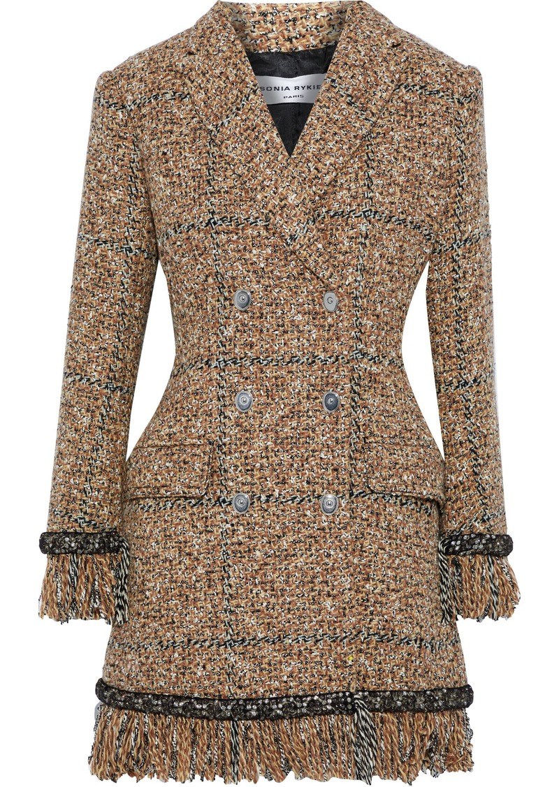 Sonia Rykiel Woman Double-breasted Crystal-embellished Tweed Coat Light Brown