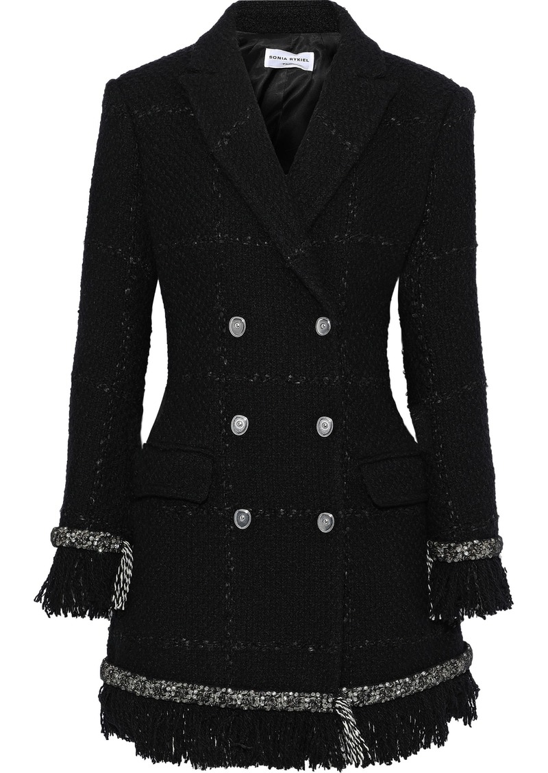 Sonia Rykiel Woman Double-breasted Crystal-embellished Tweed Coat Black