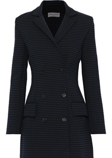 Sonia Rykiel Woman Double-breasted Striped Ponte Jacket Black