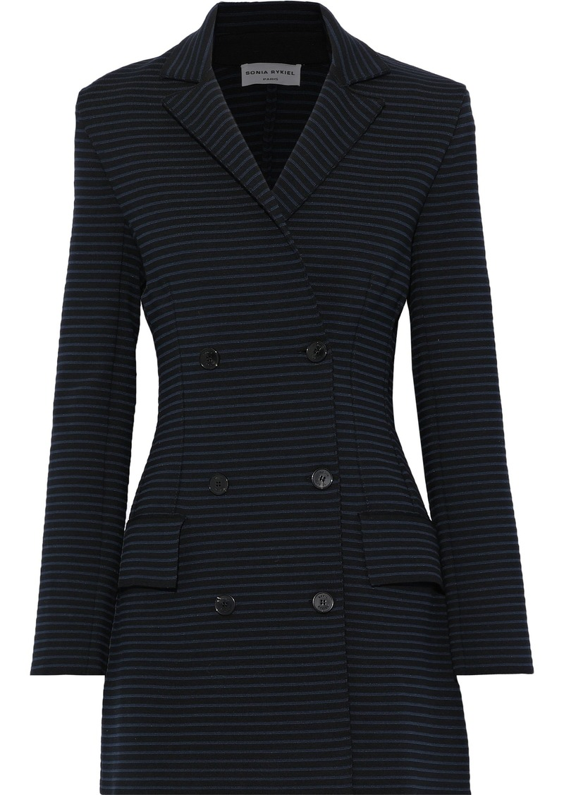 Sonia Rykiel Woman Double-breasted Striped Ponte Jacket Black