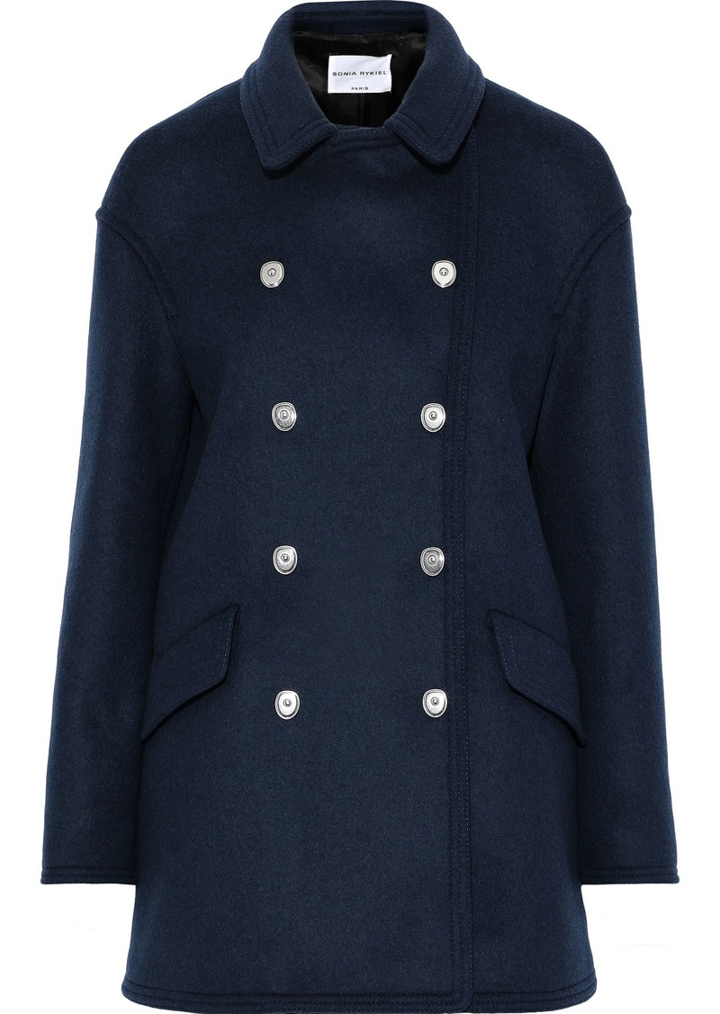 Sonia Rykiel Woman Double-breasted Wool-blend Felt Coat Navy