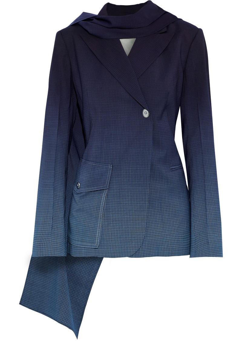 Sonia Rykiel Woman Draped Dégradé Checked Wool Blazer Midnight Blue