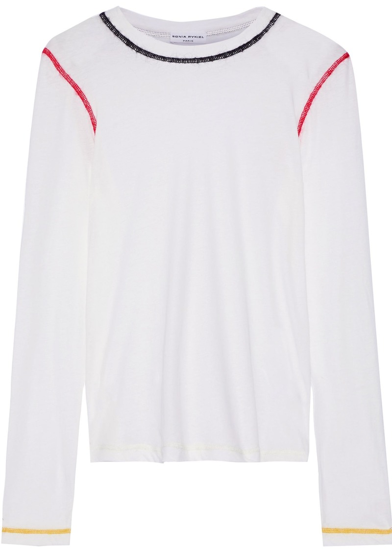 Sonia Rykiel Woman Embroidered Cotton-jersey Top White