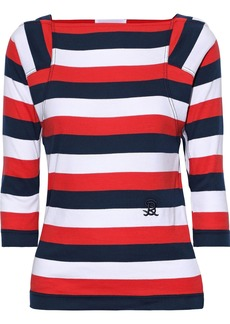 Sonia Rykiel Woman Embroidered Striped Cotton-jersey Top Red