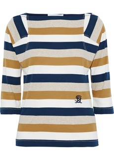 Sonia Rykiel Woman Embroidered Striped Cotton-jersey Top Navy