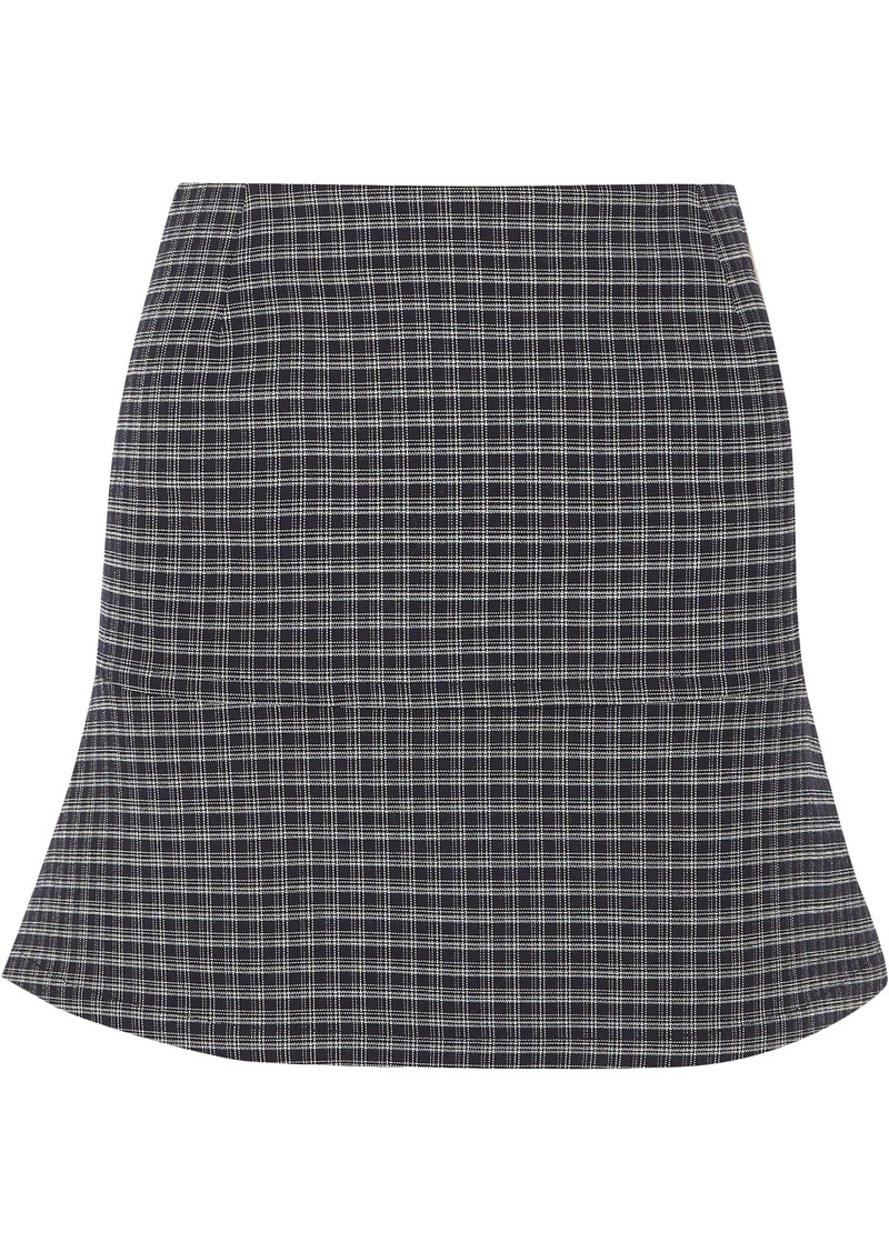 Sonia Rykiel Woman Fluted Checked Stretch-crepe Mini Skirt Midnight Blue