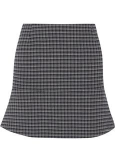 Sonia Rykiel Woman Fluted Checked Stretch-crepe Mini Skirt Midnight Blue
