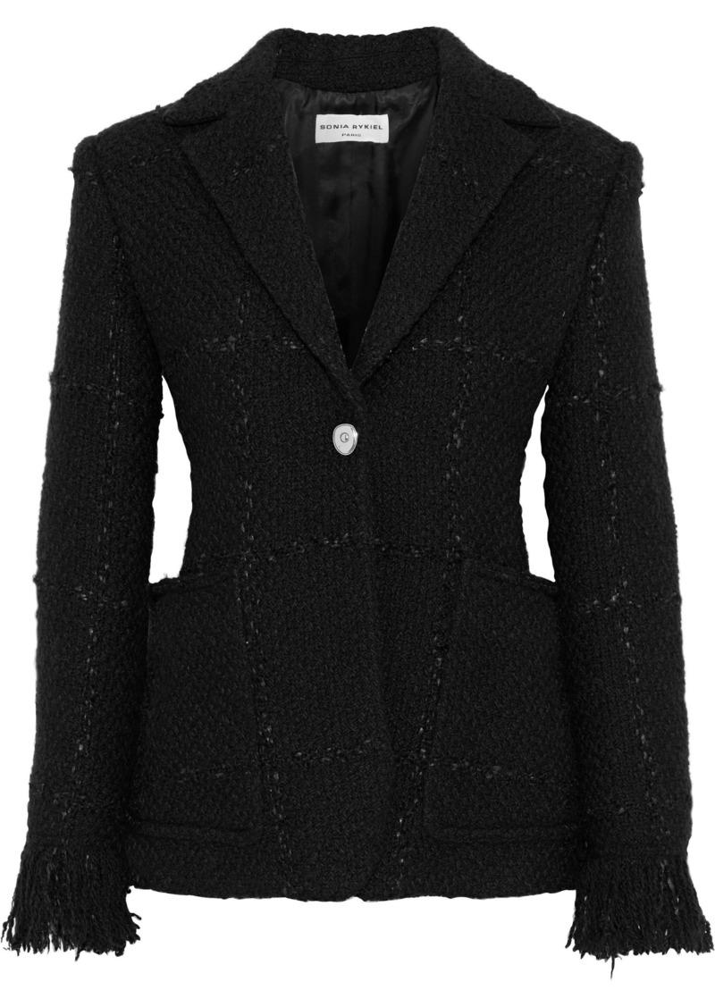 Sonia Rykiel Woman Frayed Bouclé-tweed Blazer Black