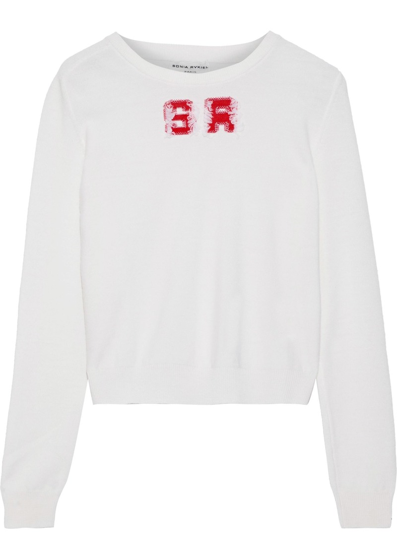 Sonia Rykiel Woman Frayed Intarsia Wool Sweater Ivory