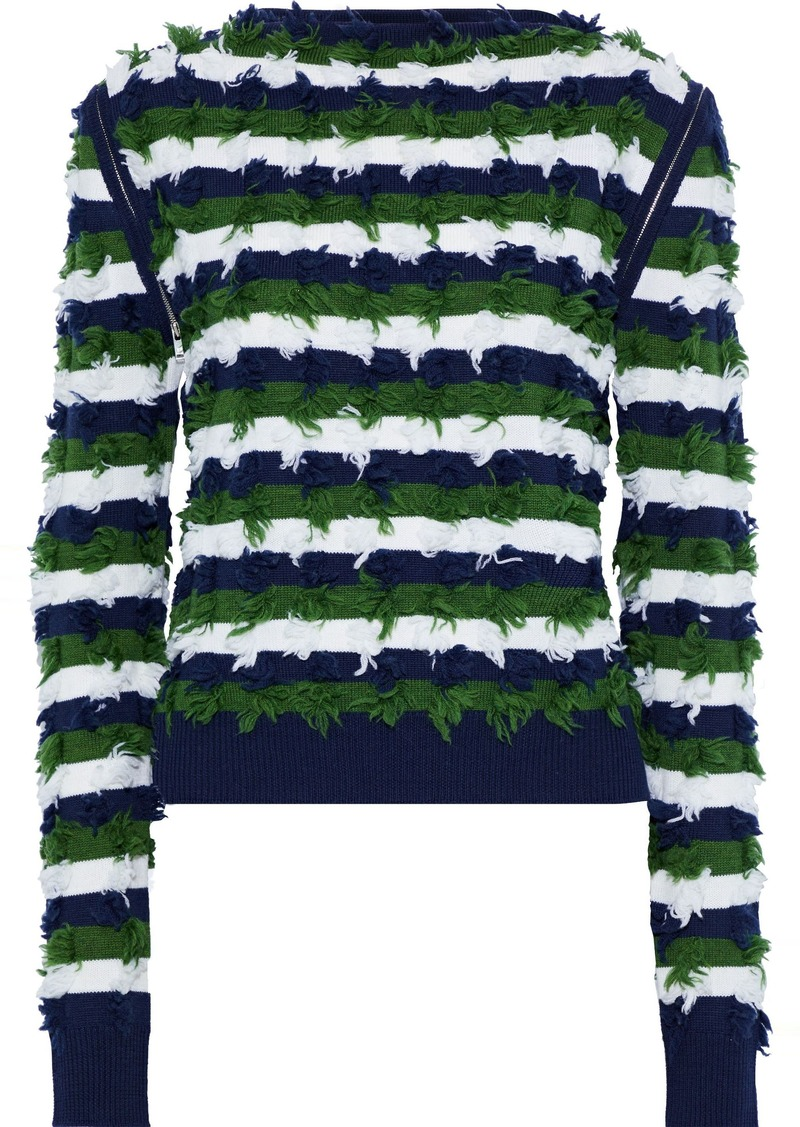 Sonia Rykiel Woman Frayed Striped Wool Sweater Navy