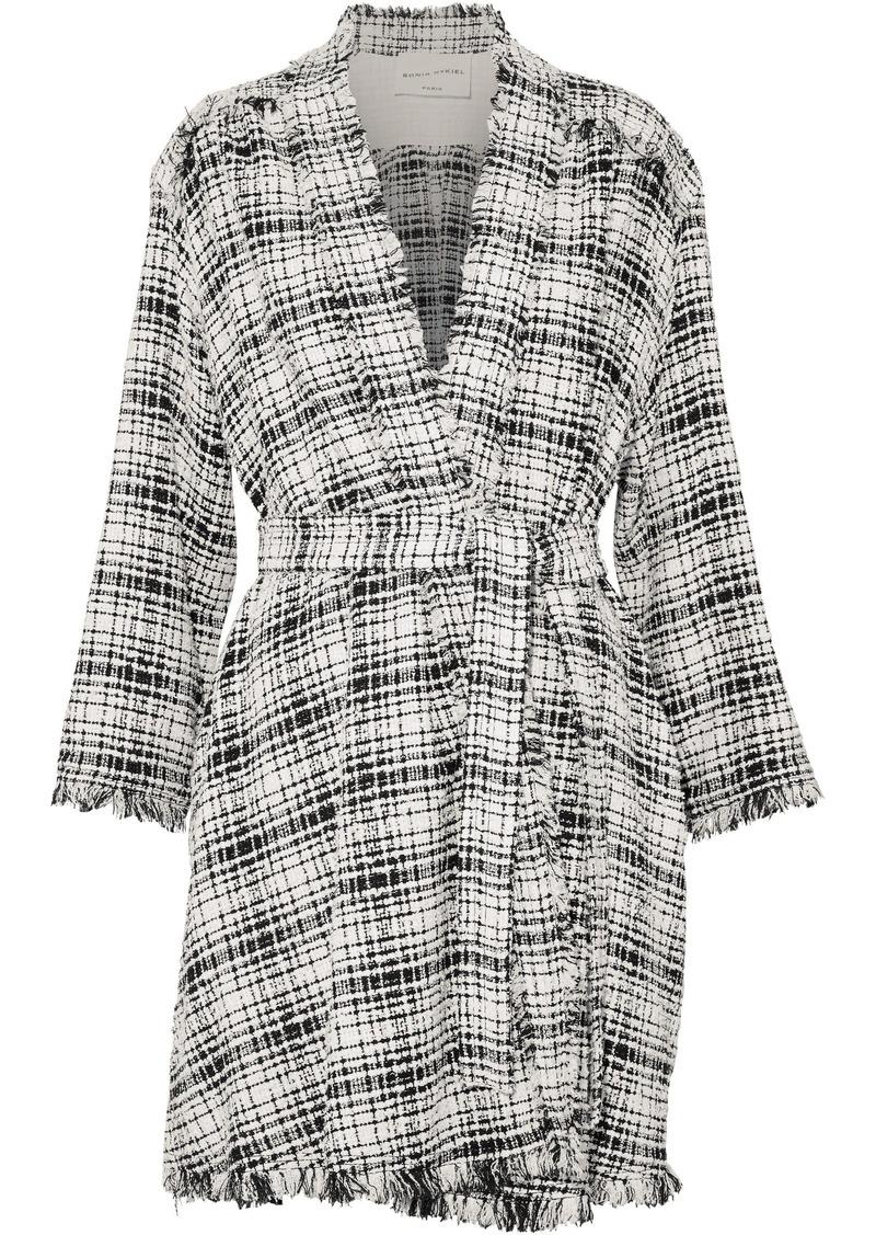 Sonia Rykiel Woman Fringe-trimmed Cotton-blend Bouclé-tweed Coat White