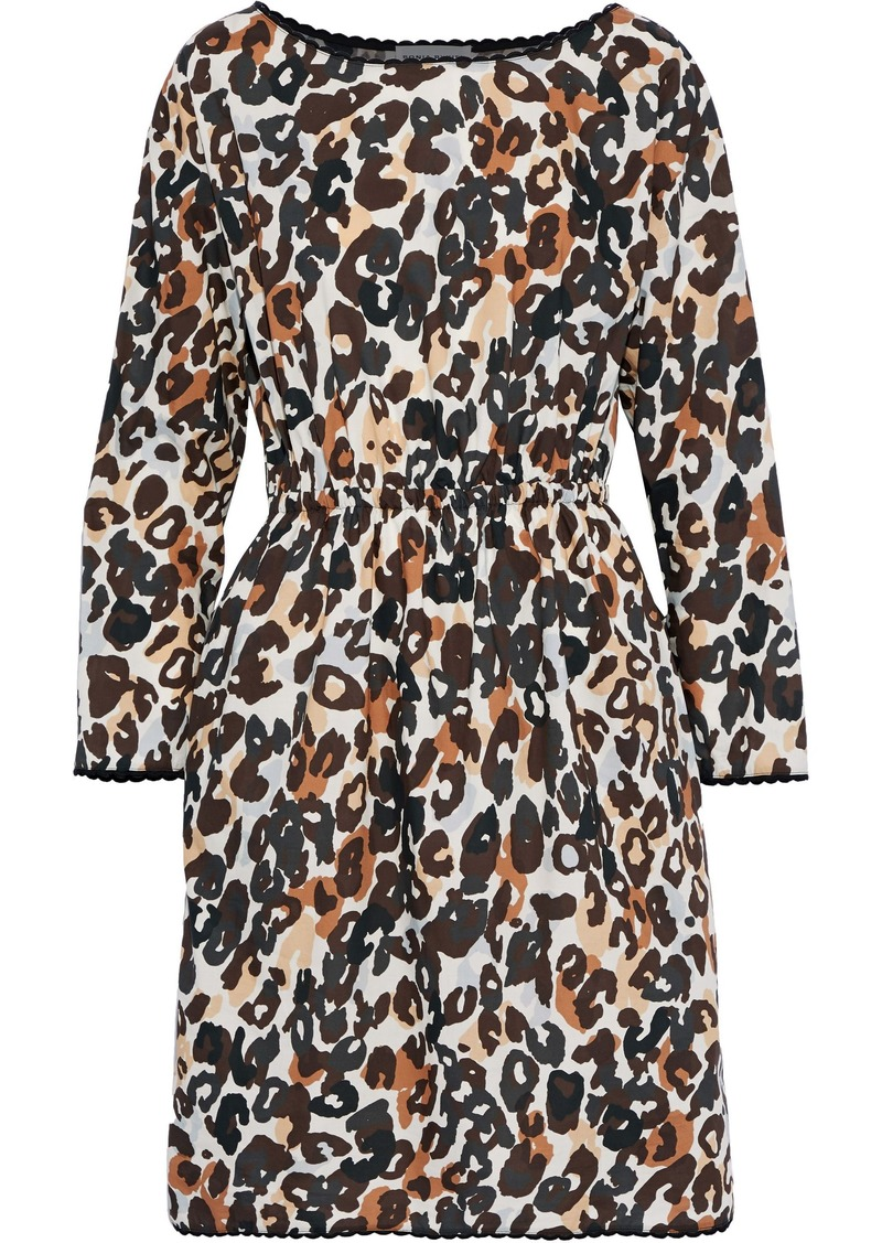 Sonia Rykiel Woman Gathered Leopard-print Cotton-poplin Dress Animal Print